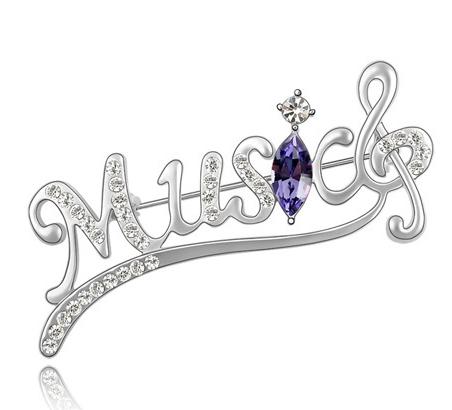 Brosa Music silver  cu elemente Swarovski violet si placata cu aur 18K garantie 6 luni [0]