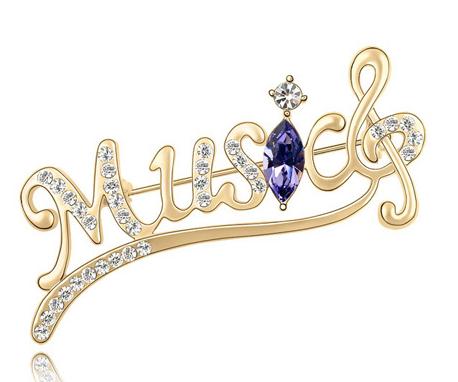 Brosa Music gold cu elemente Swarovski violet si placata cu aur 18K garantie 6 luni 0