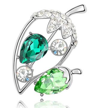 Brose Ghinda verde cu elemente Swarovski si placata cu aur 18K garantie 6 luni 0