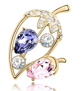 Brose Ghinda GOLD violet-rose cu elemente Swarovski si placata cu aur 18K garantie 6 luni 0