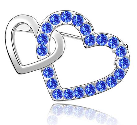 Brosa Double Heart blue capri cu elemente Swarovski si placata cu aur 18K garantie 6 luni 0