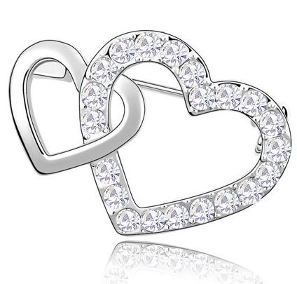 Brosa Double Heart white cu elemente Swarovski si placata cu aur 18K garantie 6 luni 0