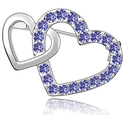 Brosa Double Heart  violet cu elemente Swarovski si placata cu aur 18K garantie 6 luni 0