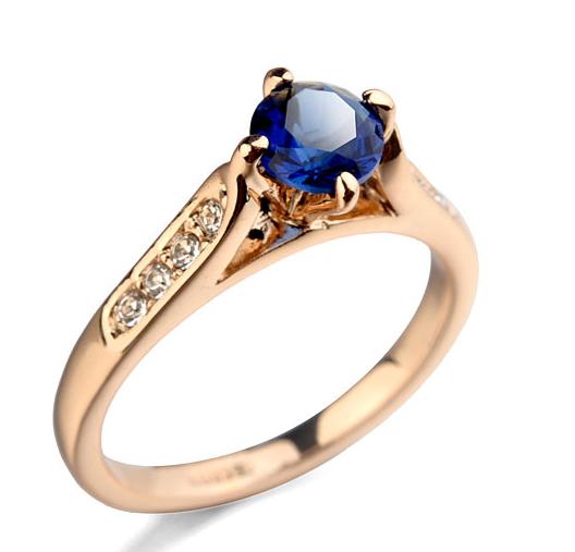 Inel cu cristale Regal blue placat cu aur 18k si garantie 6 luni - diametru 16cm 0