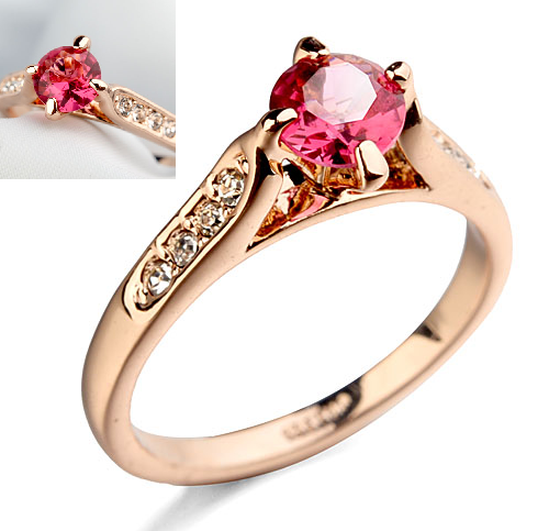 Inel cu cristale Regal rose placat cu aur 18k - diametru 18 cm 0