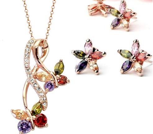 Set de bijuterii cu cristale Amiral gold multicolor din 2 piese, placat cu aur 18k si garantie 6 luni 0