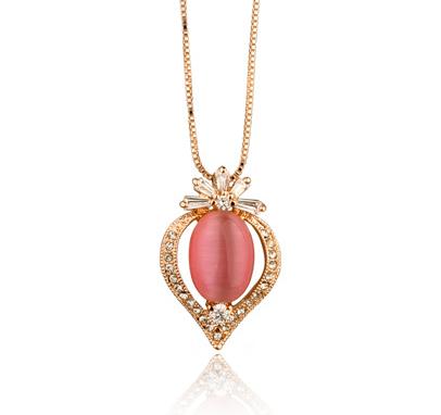 Colier cu cristale Gold Heart Pearl placat cu aur 18k si garantie 6 luni 0