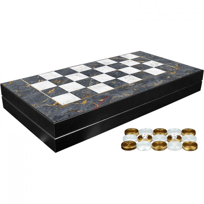 Joc de table din lemn lacuit 48x48 cm, Gri [0]