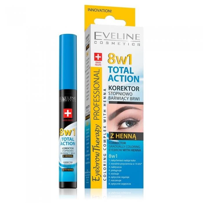 Corector Sprancene 8in1 + Vopsea Sprancene Henna, Eveline Cosmetics 8 in 1 Total Action 0