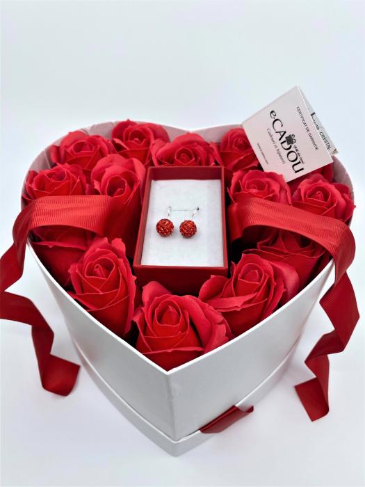 Aranjament floral cu 15 trandafiri din sapun SC-R13SH-M3 si Cercei Shambala lung [0]