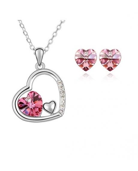 Set Beautifull Heart Rose cu cristale swarovski 0