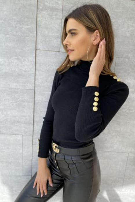 Bluza casual de dama din bumbac tetra accesorizata cu nasturi negru 8525 [0]
