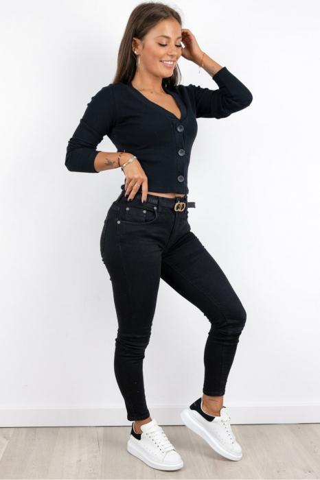 Bluza casual de dama din bumbac tetra accesorizata cu nasturi negru 9480 [2]