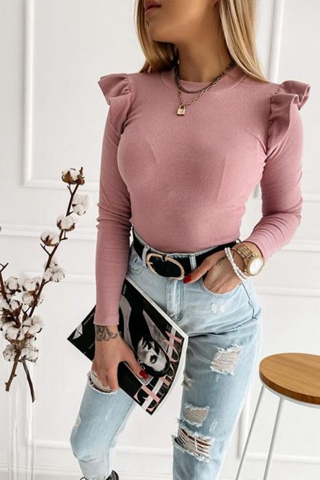 Bluza casual de dama din bumbac tetra accesorizata cu Mâneci bufante plamaniu 9546 [0]