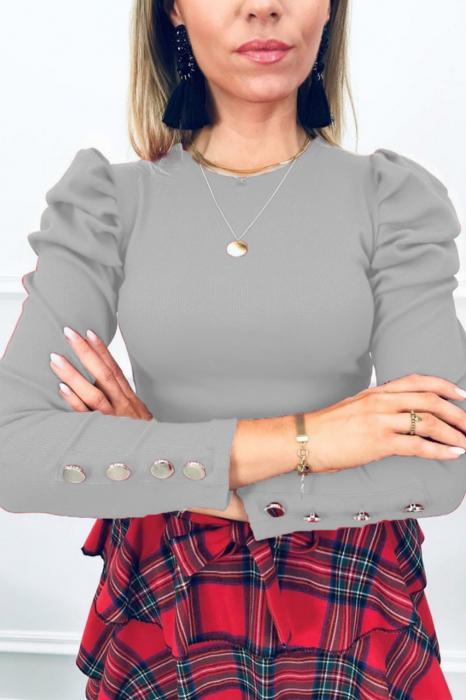Bluza casual de dama din bumbac tetra accesorizata cu nasturi gri-8641 [0]