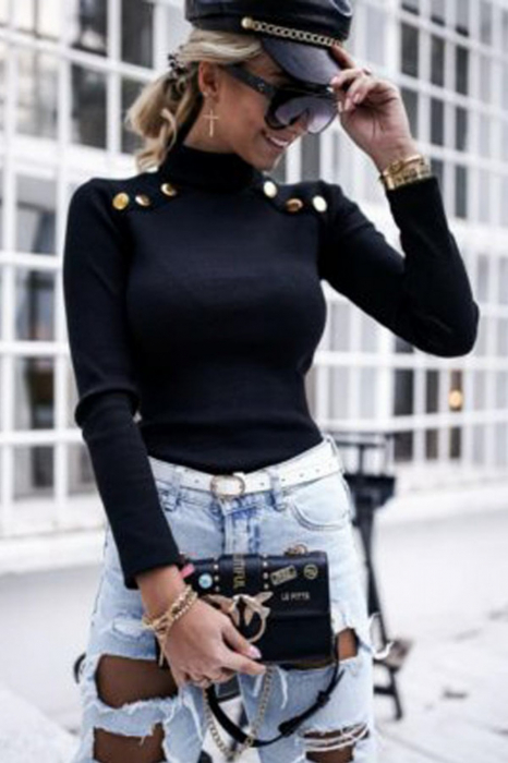 Bluza casual de dama din bumbac tetra accesorizata cu nasturi negru [0]