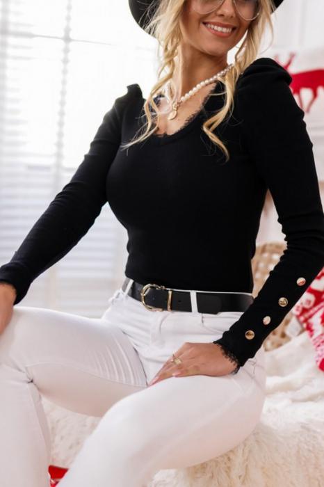 Bluza casual de dama din bumbac tetra accesorizata cu nasturi negru 2