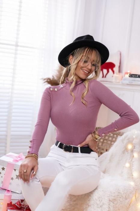 Bluza casual de dama din bumbac tetra accesorizata cu nasturi roz pudra [2]