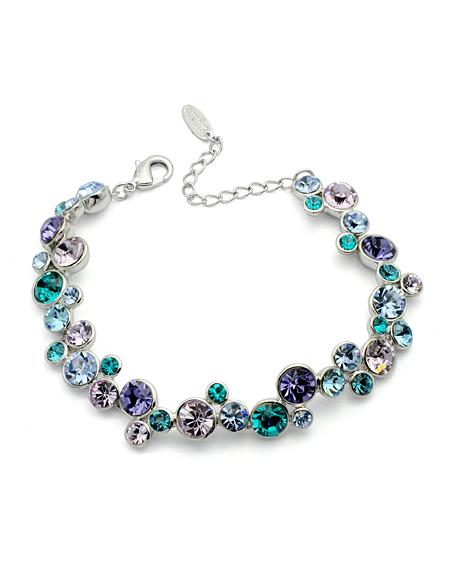 Bratara Blue Around cu cristale multicolore blue-violet-turquoise, placata cu aur alb si garantie 6 luni 0