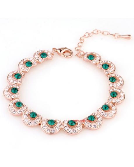 Bratara Italina Green Emerald cu cristale, placata cu aur 18K si garantie 6 luni in cutie de bijuterii din piele ecologica 0