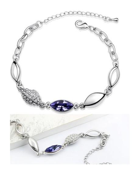 Bratara WATER DROP violet inchis cu cristale + Cercei Splendid Flower cu cristale violet 0