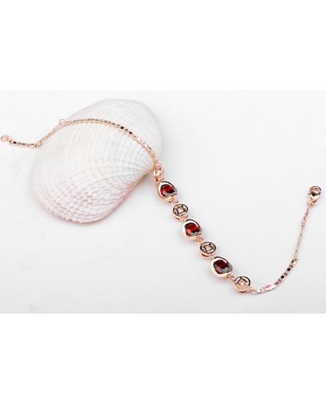 Bratara Little Arina cu cristale rosii placata cu aur si garantie 6 luni 0