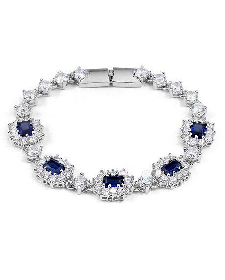 Bratara Regal Blue cu cristale, placata cu aur 18K si garantie 6 luni in cutie de bijuterii din piele ecologica 0