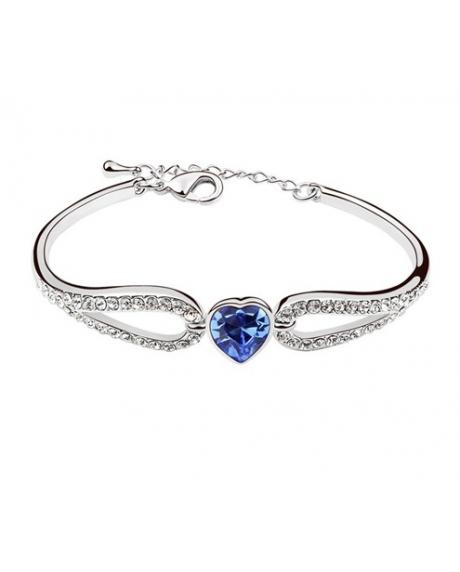 Bratara Regal Heart cu cristale blue capri, placata cu aur 18K si garantie 6 luni 0