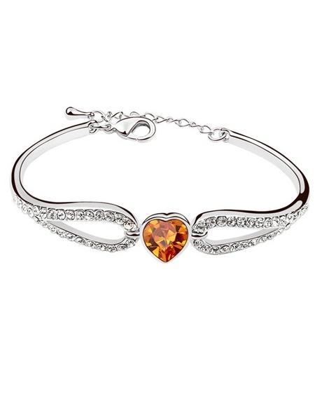 Bratara Regal Heart cu cristale orange, placata cu aur 18K si garantie 6 luni 0