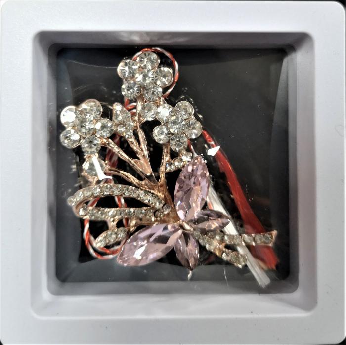 Broșă cu model Fluture si floricele cu pietre  rose 0