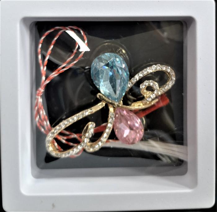 Broșă cu model Fluture cu pietre rose-aquamarine 0