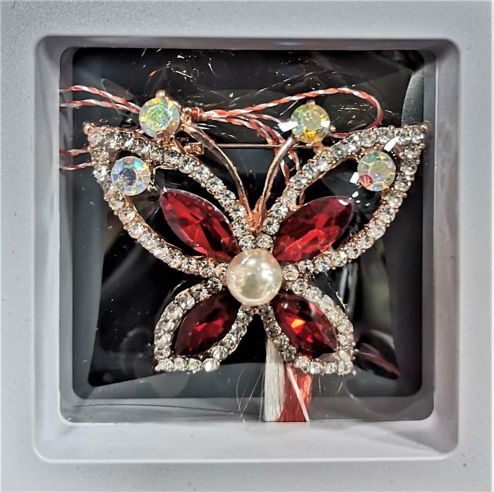 Broșă fluture mare cu pietricele rosii 0