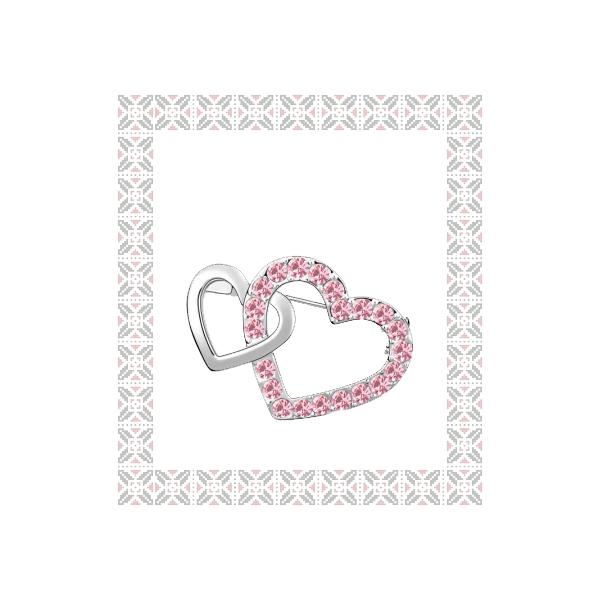 Brosa Double Heart  rose cu elemente Swarovski si placata cu aur 18K garantie 6 luni 0