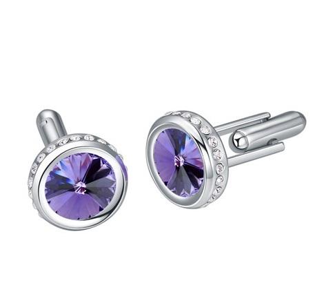 Butoni cu cristale violet , placati cu aur, garantie 6 luni 0