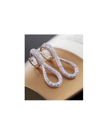 Cercei Amurg Allure White cu cristale, placati cu aur 18k, garantie produs 6 luni de zile 0