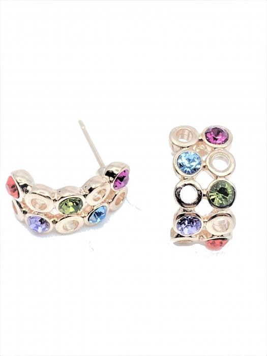 Cercei Aniela cu cristale multicolor, placati cu aur 18k [0]