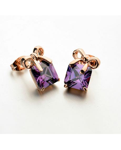 Cercei Crystal Beautifull cu cristale violet, placati cu aur 18k, garantie produs 6 luni de zile [0]