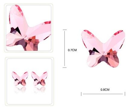 Cercei HAPPY rose cu cristale rose, placati cu aur 18k [1]