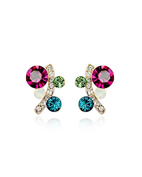 Cercei Charisma cu cristale turquoise si rose, placati cu aur 18k, garantie produs 6 luni de zile [0]