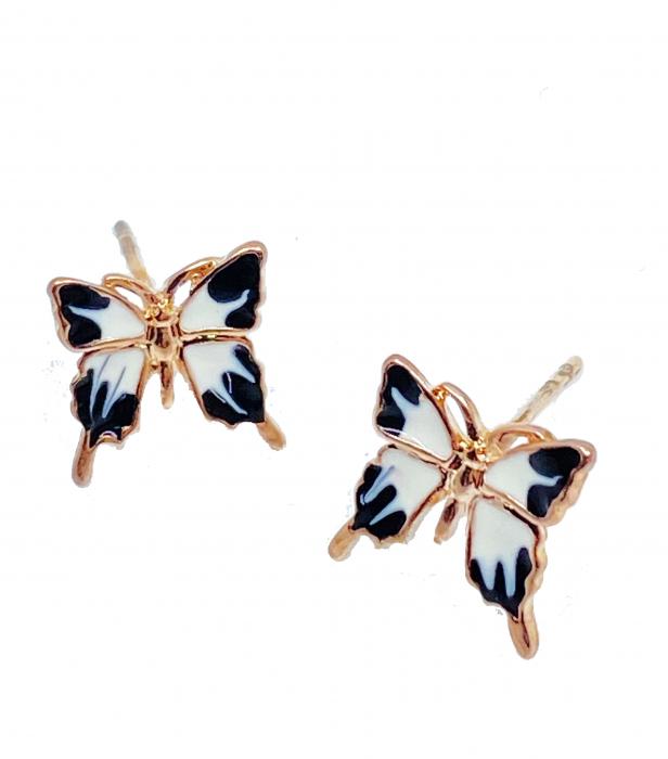 Cercei Butterfly Alb-negru, placati cu aur 18k [0]
