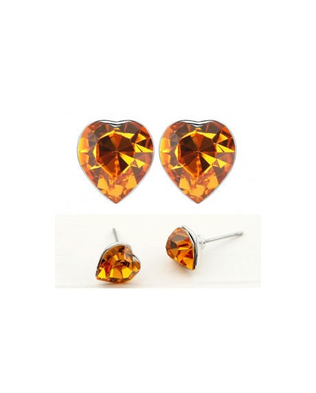 Cercei SENSIBLE HEART orange cu cristale Swarovski 0
