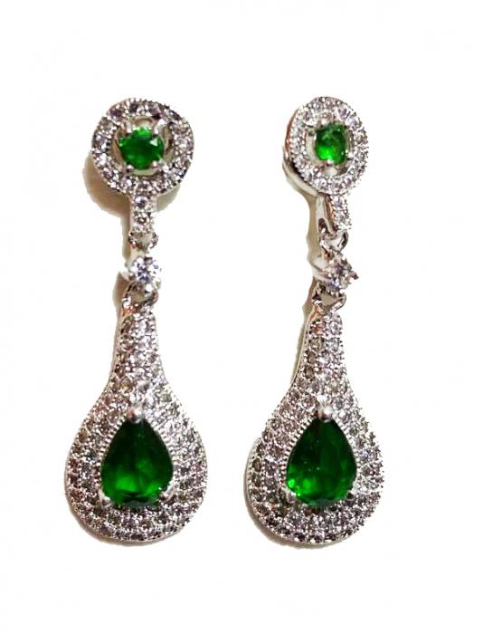 Cercei Splendid cu cristale green emerald, placati cu aur 18k, garantie produs 6 luni de zile [0]