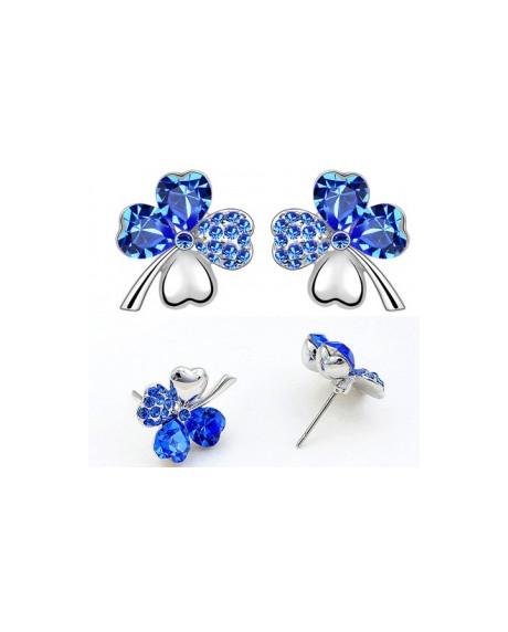 Cercei Sweet 4 Leaf Blue cu cristale Swarovski 0