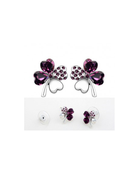 Cercei Sweet 4 Leaf purple cu cristale Swarovski 0