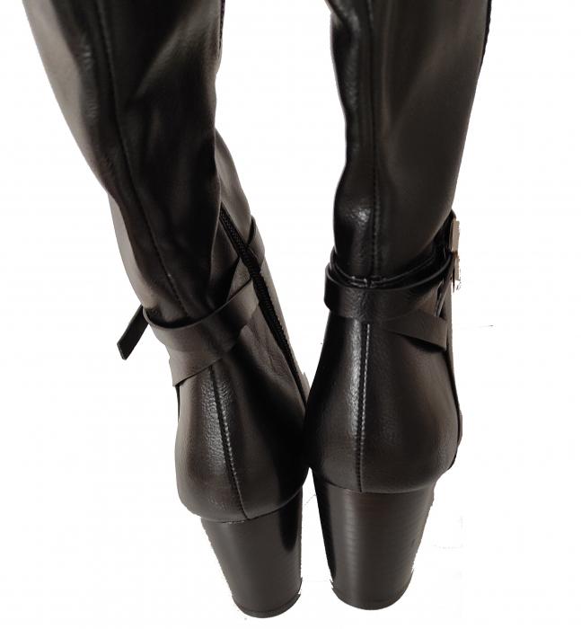 Cizme blanite de dama cu toc inalte, maro sau negre 3