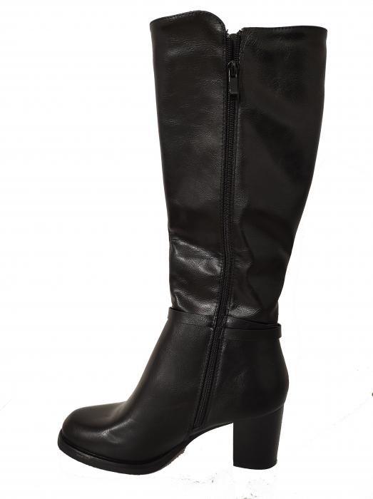Cizme blanite de dama cu toc inalte, maro sau negre 2