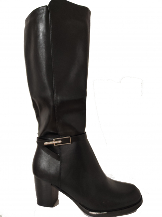 Cizme blanite de dama cu toc inalte, maro sau negre 1