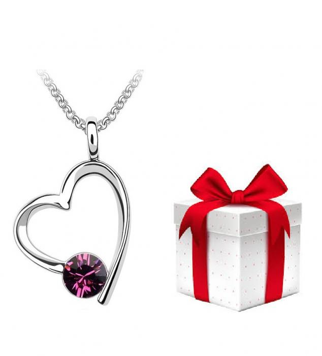 PROMO Colier BRIGHT LOVE amethist cu cristale + cercei CADOU 0
