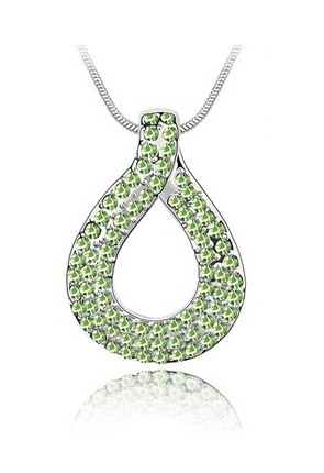 Colier cu cristale LOVE KNOT green-verde placat cu aur 18K, garantie 6 luni 0