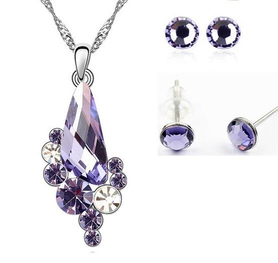 Set WATER DROP cu cristale violet, placat cu aur alb 18k [0]